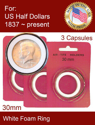 50 CENTS HALF $ 5 AIRTITE COIN HOLDER CAPSULE WHITE RING 30 MM HALF DOLLAR
