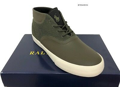 POLO RALPH LAUREN men VADIK MESH CHUKKA SNEAKERS Ankle High Top Shoes GREEN 11 D