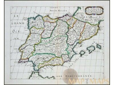 Spain Portugal Old Map Iberian peninsula Sanson 1668