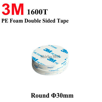 3M Double Sided Circle PE Foam White Sticky Pads Self Adhesive Round Coin 30mm+