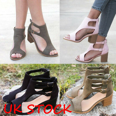 Womens Ladies Block Heels Peep Toe Summer Sandals Ankle Buckle Party Shoes Size