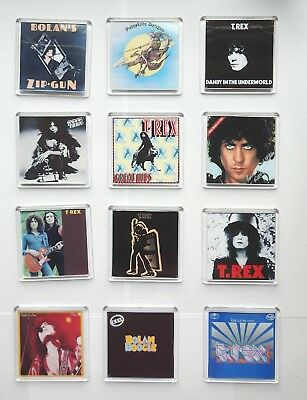 Marc Bolan / T.rex : 'The Album Collection' Set Of 12 Square Fridge Magnets