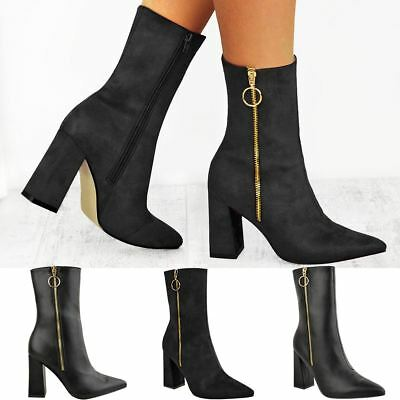 Womens Black Block Heel Ankle Boots Pointed Toe Party Zip Up Size