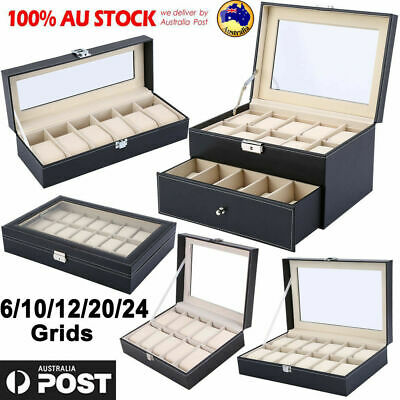 6-24 Grids Watch Jewelry Display Case PU Leather Jewelry Storage Box Organizer