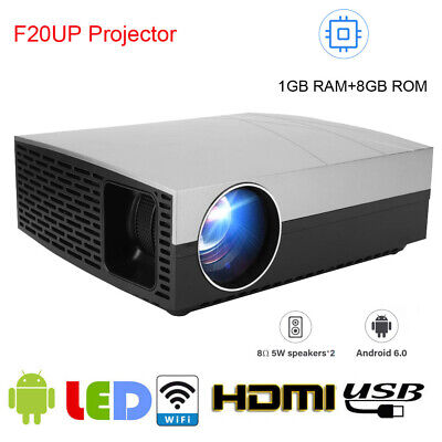 Android 3800 Lumens HD LED 1080P Projector 4K 3D Home Theater Cinema HDMI WIFI