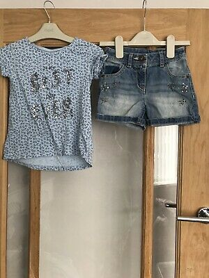 Next Girls Summer Outfit Age 4 Years Top & Denim Shorts