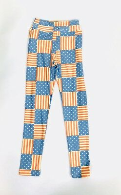 LULAROE Leggings Tween 8 - 14 American Flag Americana Red White Blue NWOT