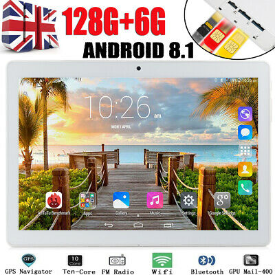 """10.1"""" Tablet PC 6G+128G Android 8.1 Ten Core Dual SIM & Camera Wifi Phablet UK"""