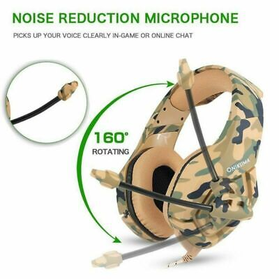 Camo Gaming Headset MIC LED Headphones Stereo for PC Laptop Mac PS4 Xbox One