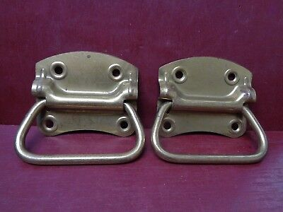 2 Nos Vintage Brass Plated Toolbox Door Drop Pulls Handles More Avail