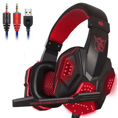Stereo Gaming Headset for xBox One / S / X / PS4 Headphones with Chat Mic V3L8X