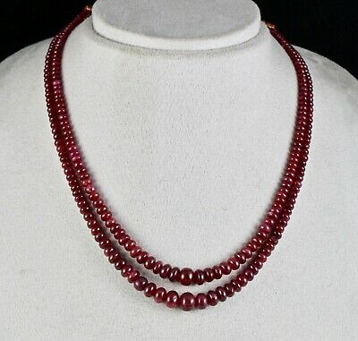 Natural Untreated Ruby Beads Round 2 Line 236 Cts Precious Gemstone Necklace