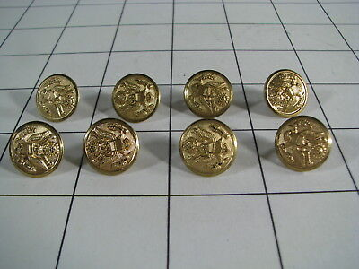 """Lot of 8 Vintage US Army Uniform 1/2"""" Waterbury Insignia Buttons"""
