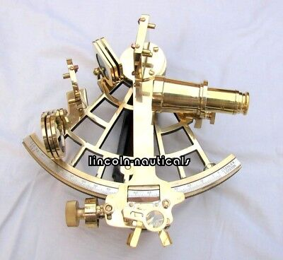 "Nautical Brass Sextant 9"" Working Vintage Marine Astrolabe Ship Instrument Item"