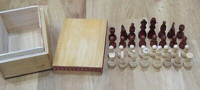 ♚ Superb set of STAUNTON design English wooden chess pieces with wooden box ♕