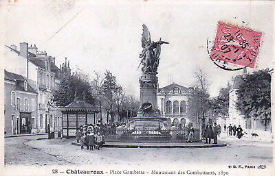 36 - indre - CHATEAUROUX - place Gambetta - monument des combattants 1870