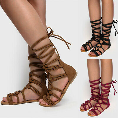 Womens Flat Knee High Lace Up Lace Up Leg Wrap Strappy Gladiator Summer Shoes