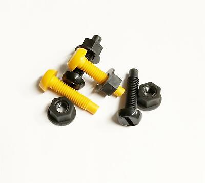 Plastic Number Plate Fitting Screws - 2 Black, 2 Yellow 4 Nuts Car Bike Scooter