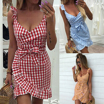 Womens Checked Strappy Mini Dresses Ladies Summer Beach Plaid Sun Dress Skrit