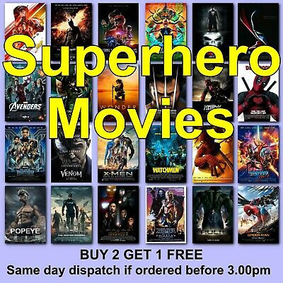 SUPERHERO MOVIE POSTERS FILM Poster Avengers Marvel Gift for Husband Boyfriend
