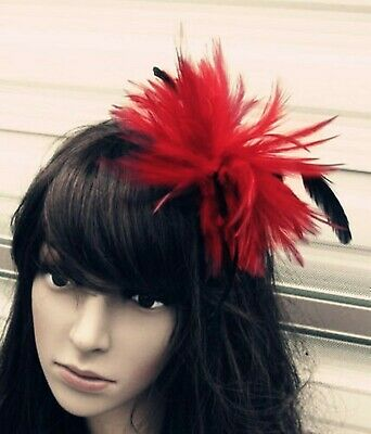 bright red black feather fascinator hair clip headpiece brooch wedding party