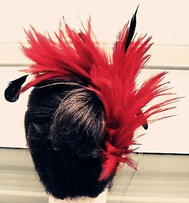 bright red black feather fascinator comb hair clip headpiece wedding party piece