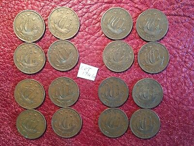 Complete Set Of 16 George Vi Bronze Halfpennies 1937-1952 - Job Lot 1746
