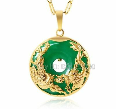 Beautiful Green Jade Gold Plated Carved Dragon Phoenix Lucky Pendant Necklace
