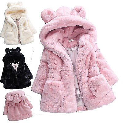 Cute Winter Warm Baby Girls Fleece Coat Jacket Children Hooded Clothes Outerwear