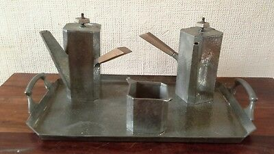 Vintage Pewter 2 coffee pots, sugar bowl, tray, Sheffield,