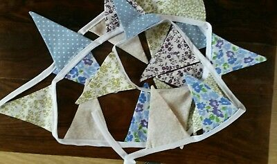 Hand made bunting flowers/spots 2.5 m, 20 flags, blue,green pink, purple