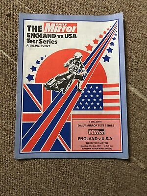 England V USA Test Series Speedway 2nd May 1981 Official Programme