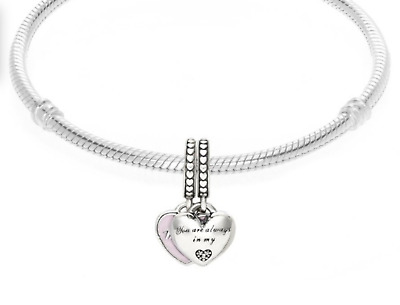 Genuine PANDORA Sterling Silver Mother & Daughter Hearts Charm Pendant +Free bag