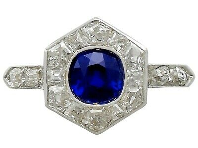 Antique French 0.81ct Sapphire and 0.71ct Diamond 18ct Yellow Gold Dress Ring