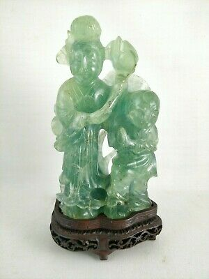Antique 19th C Chinese Carved Emerald Green Quartz Rock Crystal Figure