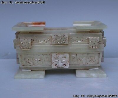 Palace Natural Old He Tian White Jade Nephrite Carved Brush Washer Jade Box AL1