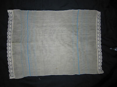 1960 BALKAN Hand - Woven Tablecloth Lace Linen Beige Runner TABLE COVER BULGARIA
