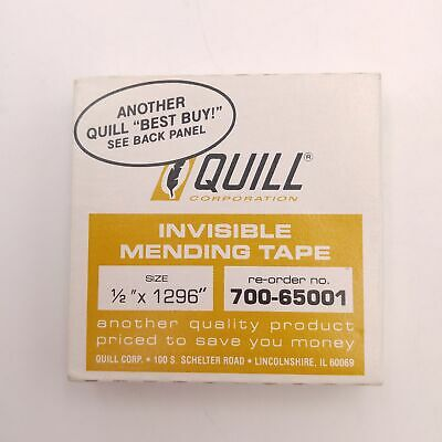 """Vintage Invisible Mending Tape 1/2"""" x 1296"""" Quill Corp. 700-65001"""