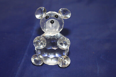Vintage Crystal Bear Animal Figurine Black Bead Eyes & Nose