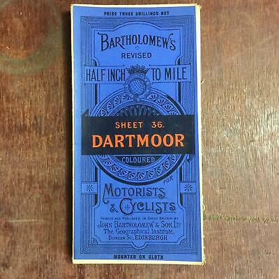 Bartholomew's Half Inch To a Mile England Cloth Map Revised Dartmoor Sheet 36