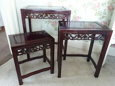 Nest Of 3 Chinese Dark Red Hardwood Coffee Tables With Stunning Carved Detailing