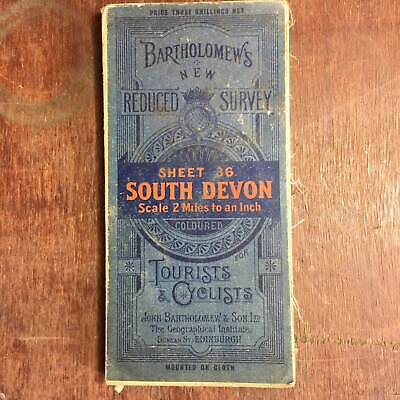 Antique Bartholomew's Cloth Map of South Devon Sheet 36 Reduced Survey 1910's