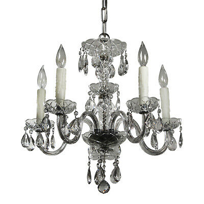 Antique Five-Light Glass Chandelier with Prisms, NC3317
