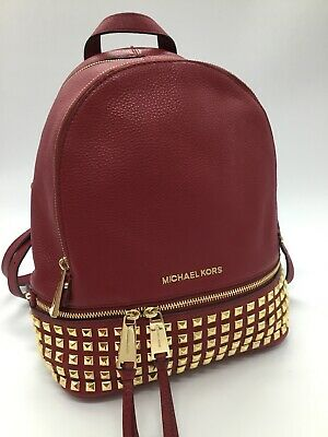 d4000dc6dd97 MICHAEL KORS RHEA Medium Studded Leather Backpack in Cherry Red ...