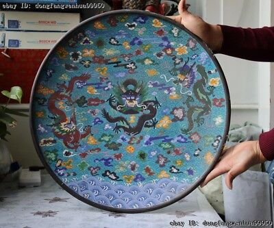 Chinese Old Copper Cloisonne Enamel Feng Shui Lucky Three Dragons Dragon Plate
