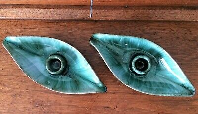 Vintage MCM Blue Mountain Pottery Canada ~ BMP ~ Leaf Drip Candle Holders