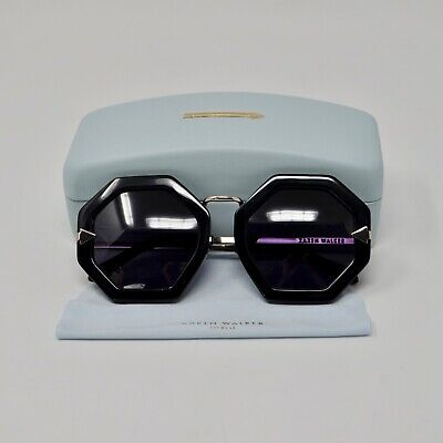 625914042f53 Karen Walker Moon Disco Sunglasses Black Gold Frame Octagonal Authentic  Festival