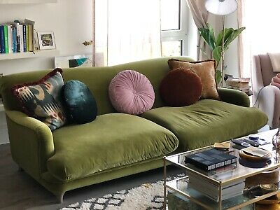New Loaf Pudding Super Deep Sofa Velvet Olive Green 210cm L