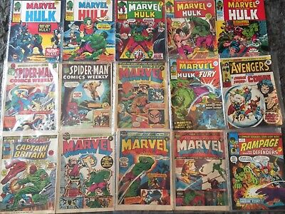 job lot of 1970's Marvel comics, Avengers, Hulk, spiderman