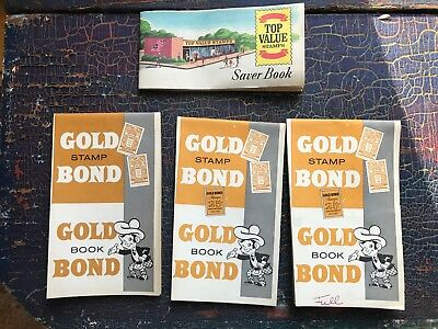 Lot of 4 Vintage grocery coupon books Gold Bond Top Value Saver some Stamps 60s